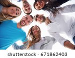 portrait of a group of young... | Shutterstock . vector #671862403