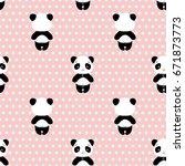 panda bear seamless vector... | Shutterstock .eps vector #671873773