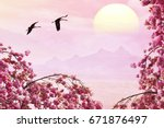 Small photo of Free birds flying at pink magic sunrise over sea with mist mountains landscape in blur background. Spring tree branches blooming with tender fluffy pink flowers. Migrating cranes. Dream inspiration.