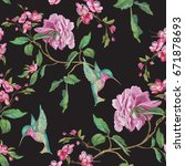 embroidery floral seamless... | Shutterstock .eps vector #671878693