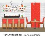 modern colorful sushi bar...   Shutterstock .eps vector #671882407