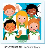 group of happy children in a... | Shutterstock .eps vector #671894173
