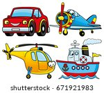 car  airplane  ship and...   Shutterstock .eps vector #671921983