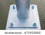 close up bolts base blurred... | Shutterstock . vector #671923003