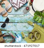 young woman accessories on... | Shutterstock . vector #671927017