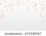 many falling pink tiny confetti ... | Shutterstock .eps vector #671930767