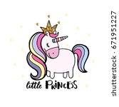 cute hand drawn unicorn. vector ... | Shutterstock .eps vector #671951227