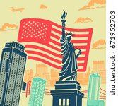 statue of liberty vector... | Shutterstock .eps vector #671952703