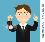 hypnosis concept   businessman... | Shutterstock .eps vector #671953243