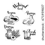 papaya sketch set. illustration ...   Shutterstock .eps vector #671959837