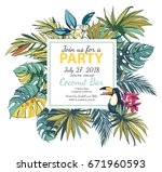 illustration tropical floral... | Shutterstock . vector #671960593
