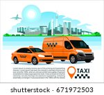 taxi cab   trucking cargo...   Shutterstock .eps vector #671972503
