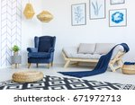 stylish blue and white living... | Shutterstock . vector #671972713