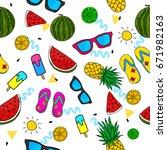 summer doddle seamless pattern... | Shutterstock .eps vector #671982163