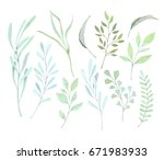 hand drawn watercolor... | Shutterstock . vector #671983933