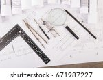 workplace of architect  ... | Shutterstock . vector #671987227