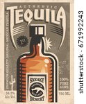 tequila promotional retro... | Shutterstock .eps vector #671992243