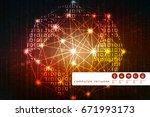 2d illustration technology...   Shutterstock . vector #671993173