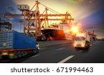 logistics import export... | Shutterstock . vector #671994463