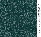 cooking utensils and kitchen...   Shutterstock .eps vector #671996113