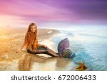 Blonde beautiful siren mermaid ....