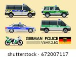 german police cars vehicles... | Shutterstock .eps vector #672007117