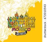 monaco travel secrets art map... | Shutterstock .eps vector #672010543
