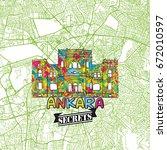 ankara travel secrets art map... | Shutterstock .eps vector #672010597