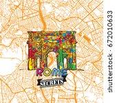 rome travel secrets art map for ... | Shutterstock .eps vector #672010633
