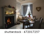 dining room of a home decorated ... | Shutterstock . vector #672017257