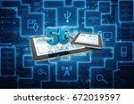 3d rendering 5g network 5g... | Shutterstock . vector #672019597