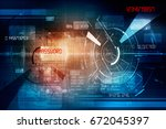 2d illustration technology... | Shutterstock . vector #672045397