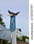 sign for edinburgh zoo  stone... | Shutterstock . vector #672053797