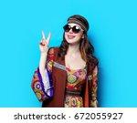 portrait of young hippie girl...   Shutterstock . vector #672055927