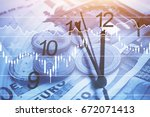 time is money concept  business ... | Shutterstock . vector #672071413