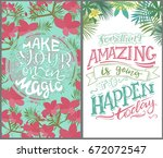 tropical cards template. vector ... | Shutterstock .eps vector #672072547