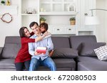 daughter and mother surprising...   Shutterstock . vector #672080503