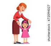 happy mum walking with little... | Shutterstock .eps vector #672094027