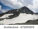 high mountains  white glaciers  ... | Shutterstock . vector #672094093