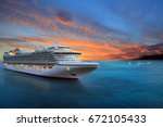 luxury cruise ship sailing to... | Shutterstock . vector #672105433