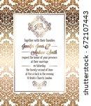 vintage baroque style wedding... | Shutterstock .eps vector #672107443