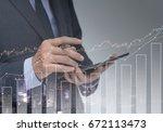 double exposure of businessman... | Shutterstock . vector #672113473