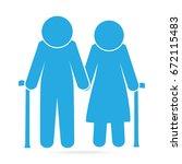 elderly symbol. old people blue ... | Shutterstock .eps vector #672115483