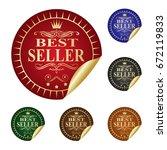 best seller. label. | Shutterstock .eps vector #672119833
