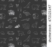 animals of north america doodle ... | Shutterstock .eps vector #672121147