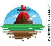 volcanic eruption landscape... | Shutterstock .eps vector #672122977