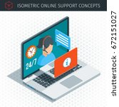 isometric online support... | Shutterstock .eps vector #672151027
