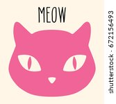 domestic cat pet mascot pink...   Shutterstock .eps vector #672156493