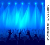 party crowd raised hands... | Shutterstock .eps vector #672163897