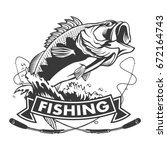 fishing logo. bass fish with... | Shutterstock .eps vector #672164743